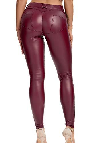FITTOO Leggings in Pelle da Donna Pantaloni Ecopelle Collant Sexy Leather Pants Sexy Slim Vita Alta Pantaloni Elastici in PU Basic, L, Vino Rosso