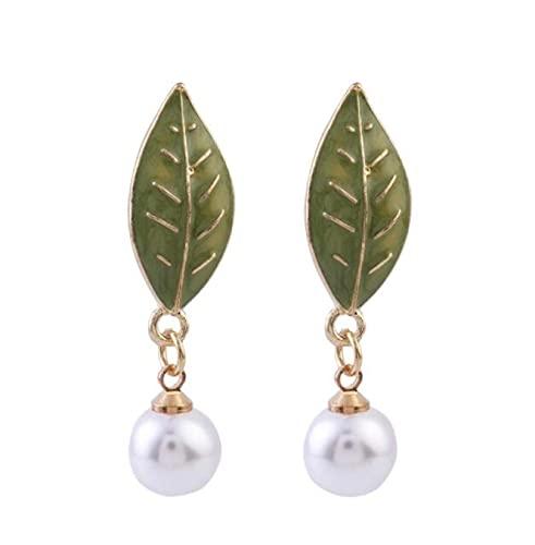 MENGHUA S925 Aguja de Plata Dulce y Encantador Pequeño Pendiente de Perla de Hoja Verde Fresca Hojas Simples y Elegantes Hojas Simples y Elegantes