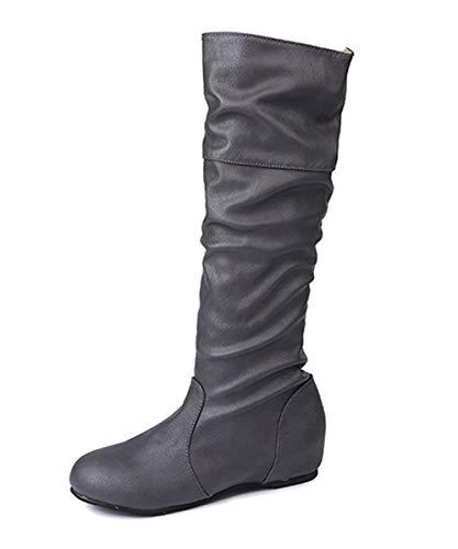 Minetom Damen Klassische Stiefel Weiche Flache Schuhe Lederstiefel Winter Casual Plissee Höhe Stiefel Grau EU 43
