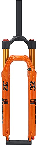 Forcella ammortizzata per mountain bike 27,5 29 pollici, lega di magnesio 1-1 8  forcelle per tubo sterzo MTB Regolazione estensione corsa 120 mm(Color:Orange;Size:27.5 inch)