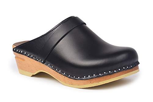 Troentorp Clogs, Bastad Da Vinci Damen-Clogs, geschlossener Zehenbereich, schwarzes Leder, Original-Holz-Clogs, US 7 (EU 37)