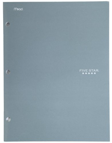 Five Star 4 Pocket Folder, 2 Pocket Folder Plus 2 Additional Pockets, Gray (72103)