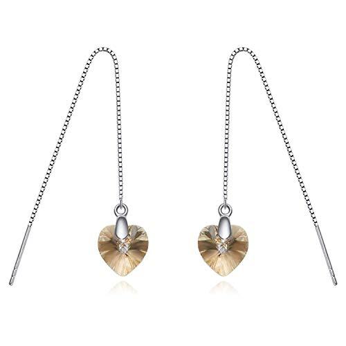 Gymqian Novedad - Pendientes de plata de ley 925 para mujer Pendientes colgantes en forma de corazón/Amarillo