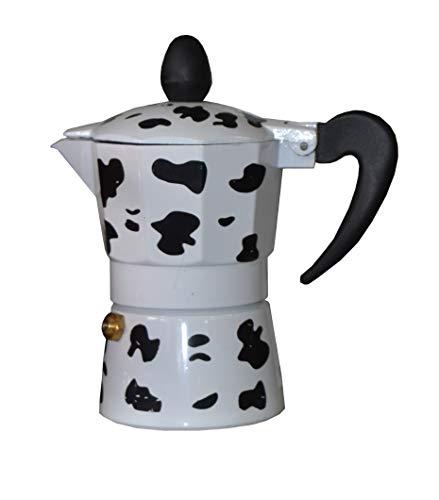 Ducomi - Cafetière type Moka en aluminium, effet peau de vache–avec poignée à isolation thermique - Pour un café expresso italien, crémeux et exceptionnel 6 tasses