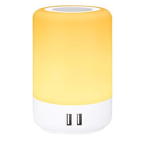 Lámpara de mesa USB, Lámpara escritorio led, luz nocturna infantil, cargador usb multiple, 4 puertos de carga USB, luz blanca cálida regulable de 3 niveles y siete colores que cambian RGB(EU plug)