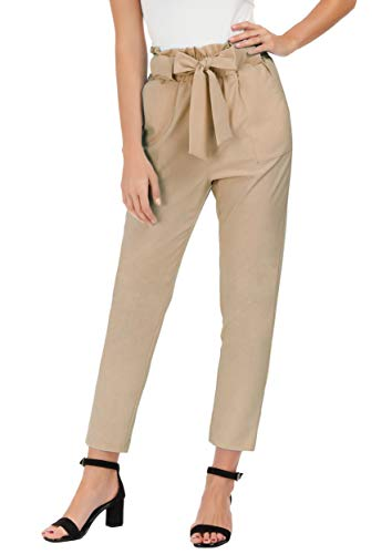 GRACE KARIN Women's Slim Straight Leg Stretch Casual Pants with Pockets M Camel