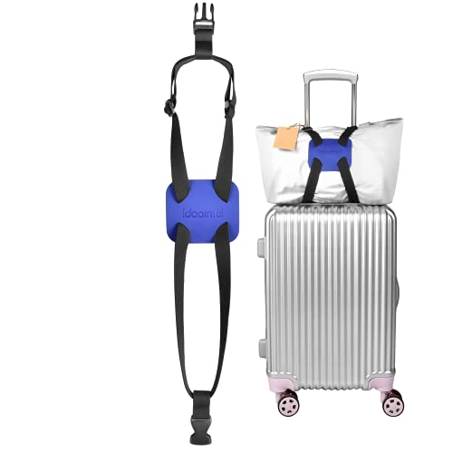 Luggage Straps Bag Bungees for Add a Bag Easy to Travel Suitcase Elastic Strap Belt, High Elastic Suitcase Adjustable Belt Bag Bungees with Buckles (Black/Blue)