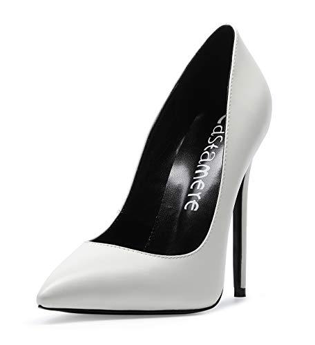 CASTAMERE Mujer Zapatos de Tacón Zapatos Mujer Tacon Fiesta Sexy Clásico Stilettos High Heels Forro Negro Zapatos Tacones Altos 12cm PU Blanco EU 35