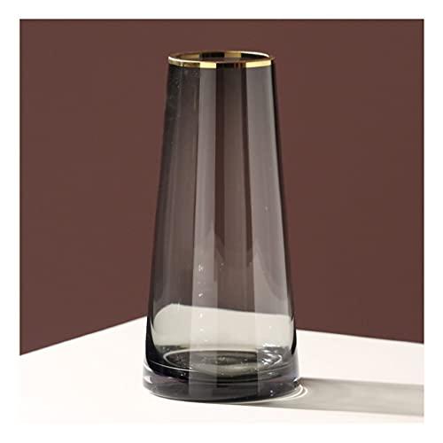 Jarrón Gris transparente Jarrón de vidrio sala de estar arreglo flor creativo simple mesa de comedor mesa de televisión dormitorio dormitorio jarrón hidropónico jarrón decorativo ( Size : Medium )