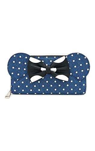 Mickey & Minnie Mouse Loungefly - Minni Femme Portefeuille Bleu, Coton,