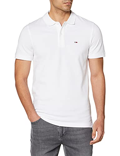 Tommy Jeans TJM Classics Solid Stretch Polo Camisa, Blanco, M para Hombre