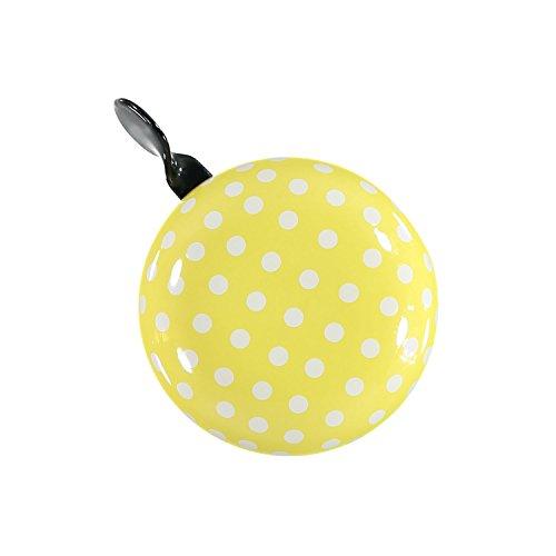 URBAN ZWEIRAD Fahrradklingel/Fahrrad Glocke Big Mama (groß), Klingel für Hollandrad oder Damenfahrrad (gelb mit Polka Dots)