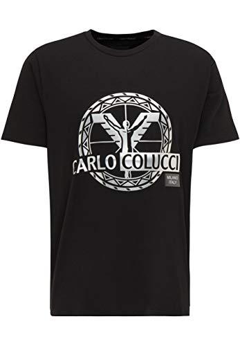 Photo of Carlo Colucci Silver 3D Logo T-Shirt – Black – Black – XX-Large