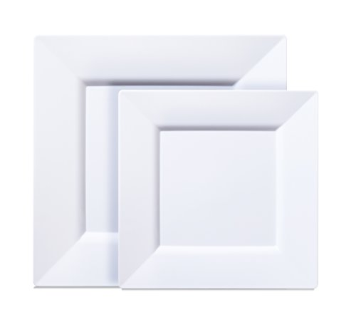 [40 COUNT] White Square Disposable Plastic Plates - Includes 20 Dinner Plates and 20 Salad Plates