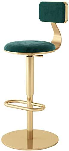 DGSD Barstuhl mit grünem Samt und stabilem Ringfußhocker Höhenverstellbar Geeignet für Bar, Küche, Wohnzimmer Esszimmerstuhl,Green