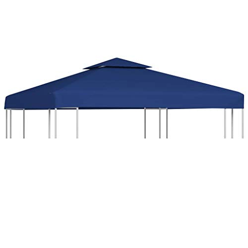 Outdoor Gazebo Cover - Waterproof Pop Up Gazebo Top Cover Replacement with 8 Grommet Rings PVC Coating for Courtyard Garden Backyard, 3x3m Dark Blue
