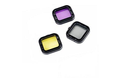 CoolDi 3 Pack New Design Underwater Diving Lens Filters for Gopro Hero4,hero3+ Camera(Yellow Purple Grey)