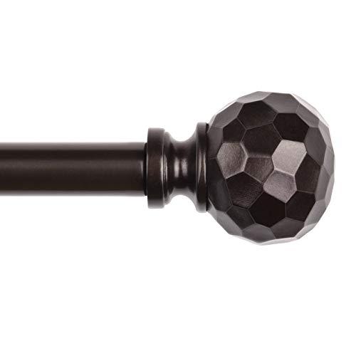 SZXIMU Curtain Rod, 5/8 Inch Single Rods for Windows 48 to 86 Inch, Drapery Rod with Diamond Pattern Finials, Bronze