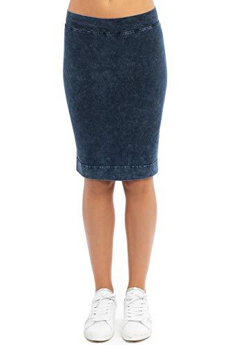 Hard Tail Forever Pull On Pencil Skirt, Cotton, Knee Length Style W-321 M Dark Denim