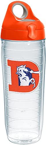Tervis 1231111 NFL Denver Broncos Legacy Tumbler with Emblem and Orange Lid 24oz Water Bottle, Clear