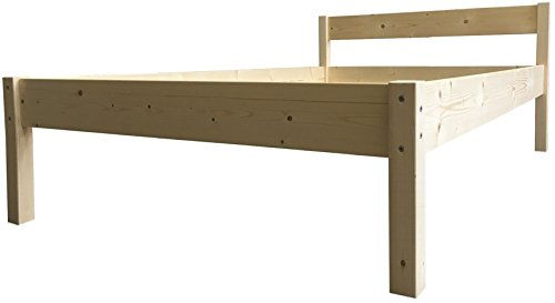 LIEGEWERK Seniorenbett erhöhtes Bett Holz mit Kopfteil Betthöhe 55cm Massivholzbett 90 100 120 140 160 180 200 x 200cm hergestellt in BRD (100 x 200cm, Betthöhe 55cm)