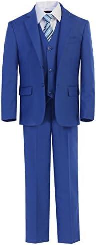 7 Pcs Boys Slim Fit Formal Cobalt Blue Suit Vest Pants Dress Shirt Bowtie Tie Set Size 16 product image