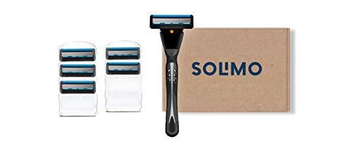 Marca Amazon - Solimo Maquinilla de afeitar de 5 hojas para hombre + 6 recambios