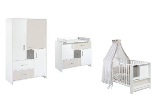 Schardt 118505254 Kinderzimmer Candy, bestehend aus Kombi-Kinderbett, und Wickelkommode mit Wickelaufsatz, und 3-türigem Kleiderschrank