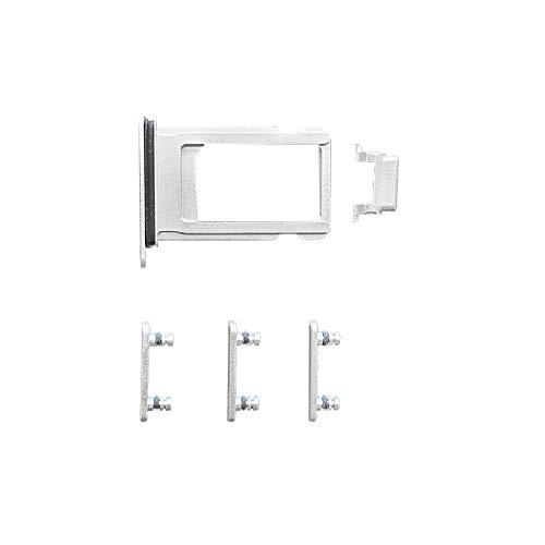 Smartex Botón lateral blanco + bandeja de tarjeta SIM compatible con iPhone 7/Power, Volumen, Botón de silencio