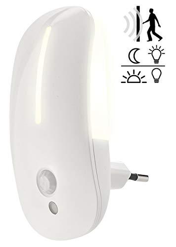 Lunartec Steckdosenlicht: LED-Steckdosen-Nachtlicht mit Bewegungsmelder & Dämmerungs-Sensor (Nachtlicht mit Bewegungssensor)