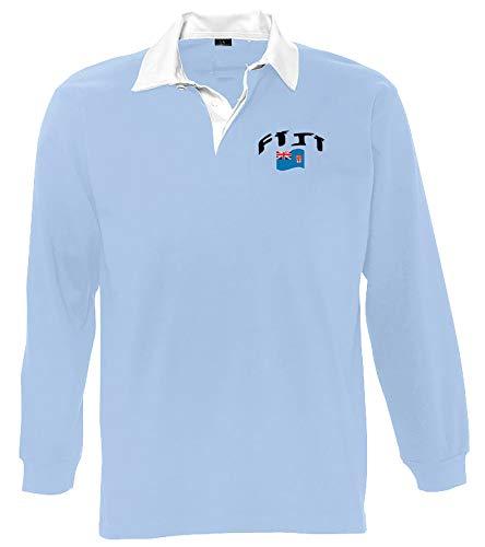 Supportershop Polo-Shirt Rugby LS Fidji Unisex M blau