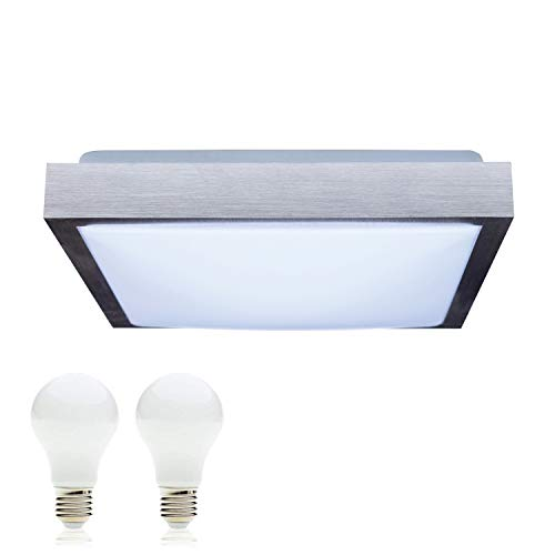 SAVONY IP20 (inkl. 2x LED Leuchtmittel E27 2x 13W) - (2210lm) - Decken Wandleuchte Deckenlampe Wandlampe für LED & ESL (Quadratisch 300x300)