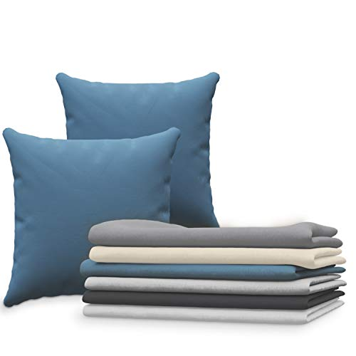 Dreamzie Juego de 2 x Fundas de Almohada 65x65 cm Azul 100% Algodon Jersey - Funda de Almohada Algodon 65x65 - Funda Cojin para Cama 65x65 - Protector de Almohada