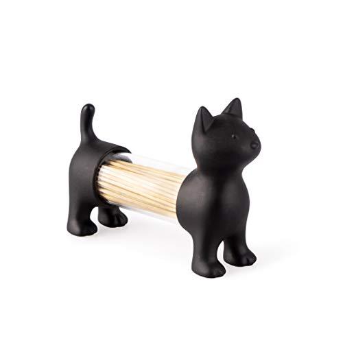 balvi Zahnstocherspender und Salz- und Pfefferstreuer CAT Schwarz In Form Einer Katze Acryl/PVC