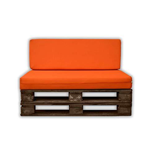 MICAMAMELLAMA Pack Asiento + Respaldo para Sofá de Palet Exterior e Interior - Funda Naranja de Tejido 3D Hipertranspirable - Espuma HR Alta Densidad - Grosor 12cm