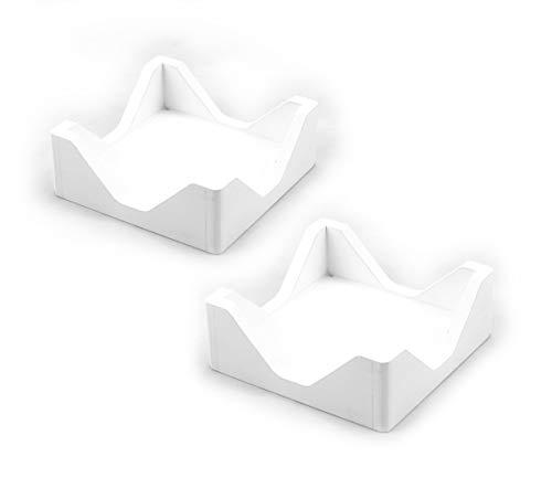 Hostelnovo - 2 Servilleteros de Madera Natural y diseño Moderno - Ideal para servilletas de cóctel - Madera - Fabricado en España - Color Blanco - 10 x 10 x 4,5 cm - 2 Unidades
