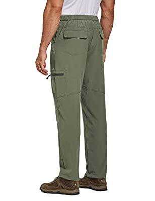 BALEAF Men's Hiking Cargo Pants Water Resistant UPF 50+ Quick Dry Lightweight Outdoor Pant Fishing Camping Green Size M