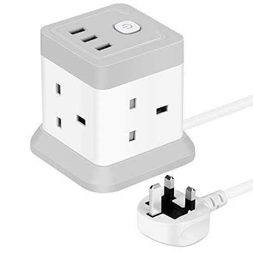 Cube Extension Lead with USB, 4 Way Power Strip with 3 USB Ports 3M...