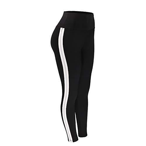 MOHAMED Deportes y Pantalones de Yoga de la Aptitud Que Basa la extensión del Blanco Pliegues Laterales de la Manera Simple (Color : Black, Size : M)
