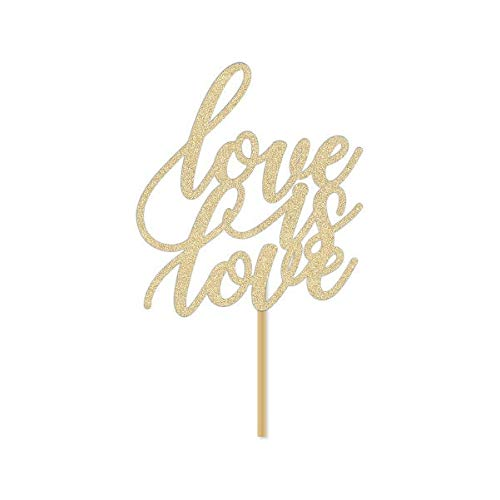 Glitter Cake Toppers, Love is Love Cake Topper/LGBTQ Wedding Cake Topper/Gay Lesbian Pride Decor Decorations/Mr & Mr/Mrs Mrs/Cursive Script Gold Glitter