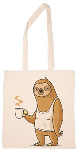 Faultier Montag Kaffee Wiederverwendbar Einkaufen Lebensmittelgeschäft Baumwolle Tasche Reusable Shopping Bag