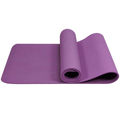 Esterilla de yoga antideslizante, sin sustancias nocivas, TPE (elastómero termoplástico), con correa de transporte, profesional para yoga y pilates, color morado
