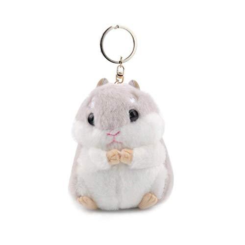 Vektenxi Premium Qualität Frauen Hamster Plüsch Keychain Niedlichen Stofftier Handtasche Anhänger für Handtasche, Hellgrau
