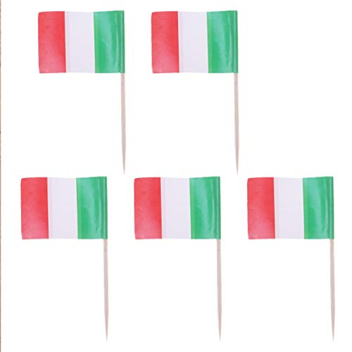 HEALLILY 100Pcs Italiaanse Vlag Picks Kleine Mini Sticks Cupcake Toppers Party Decoratie Cocktail Fruit Sticks Voedsel…