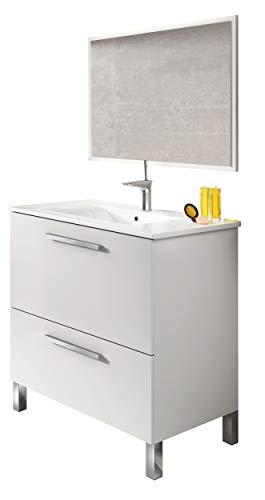Abitti Mueble Lavabo de baño o Aseo con lavamanos cerámico y Espejo,...