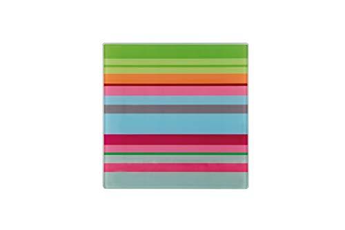 Remember Lines - Bandeja de cristal para cocina (21,5 x 21,5 cm)