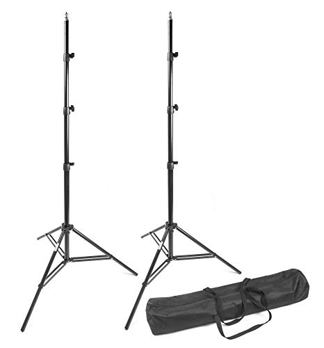 PHOCUS 8.8ft Compact Aluminum Tripod Heavy Duty Light Stands with Carrying Bag for Photography Video and Portrait Lighting (2 Pack)