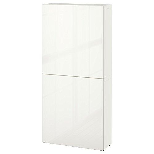 BESTÅ wandkast met 2 deuren 60x20x128 cm wit/Selsviken hoogglans/wit