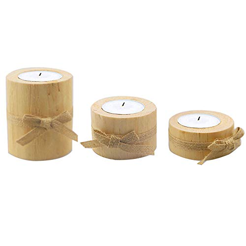 Gobesty Wood Pile Candle Holder, 3pcs Wooden Candle Holder Timber Candle Stand Holder Set Wooden Bark Candlestick Wooden Flower Plant Pots Pen Holder for Home Decoration