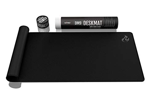NITRO CONCEPTS DM9 - Gaming Mauspad XXL 900x400 Millimeter Fransen Freie Ränder Microfaser Großes Mauspad Non Slip Mousepad Gaming - Schwarz